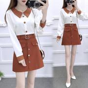 秋季女套装2018气质长袖雪纺衬衫高腰A字短裙时尚洋气两件套