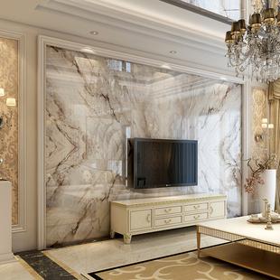 欧式电视背景墙瓷砖3d大理石客厅微晶石现代简约石材墙罗马柱边框