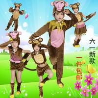 2016新款包邮春夏儿童小猴子捞月演出服卡通动物服装幼儿表演服饰