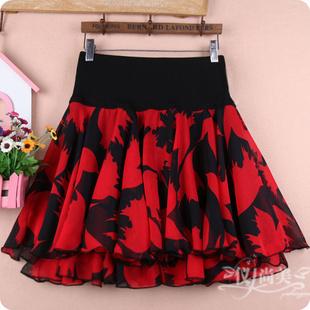 夏季碎花短裙女红色雪纺半身裙子蓬蓬大摆跳舞大码高腰纱裙裤