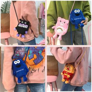 韩国可爱卡通动漫毛绒斜挎包双层手机包软妹刺绣迷你小包学生女包
