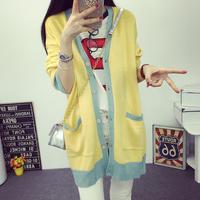 学生党青春黄色款长款毛衣针织外套卡通图案2016新款开衫秋季穿衣