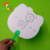 儿童diy手绘空白扇子 白扇子画扇凉扇幼儿园创意美术绘画