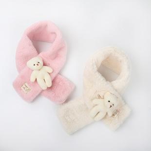 儿童秋冬季围巾女童小熊保暖柔软围脖男宝宝可爱毛绒纯色脖套