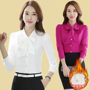 白色衬衫女士长袖雪纺2018春装蝴蝶结时尚职业衬衣工作服上衣