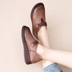 复古手工森系女鞋真皮软底百搭平底民族风加绒单鞋厚底皮鞋女
