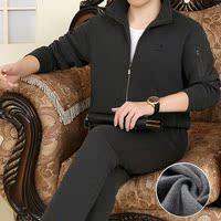 中老年运动套装男秋冬新款加绒加厚l两件套保暖卫衣晨练休闲套装