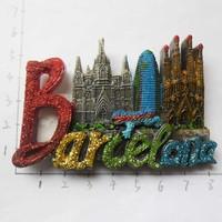 西班牙景点立体冰箱贴 巴塞罗那圣家族大教堂旅游收藏伴手礼促销