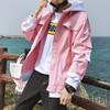 冬季男生粉色牛仔外套潮流百搭bf帅气夹克男装上衣服