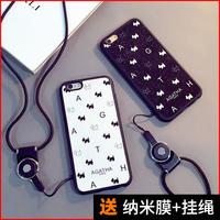 新款苹果6SPLUS手机壳六5.5挂绳脖iphone6p硅胶防摔5se外壳磨砂潮