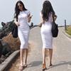 褶皱中长裙女性感紧身包臀连衣裙2018夏白色一步裙子