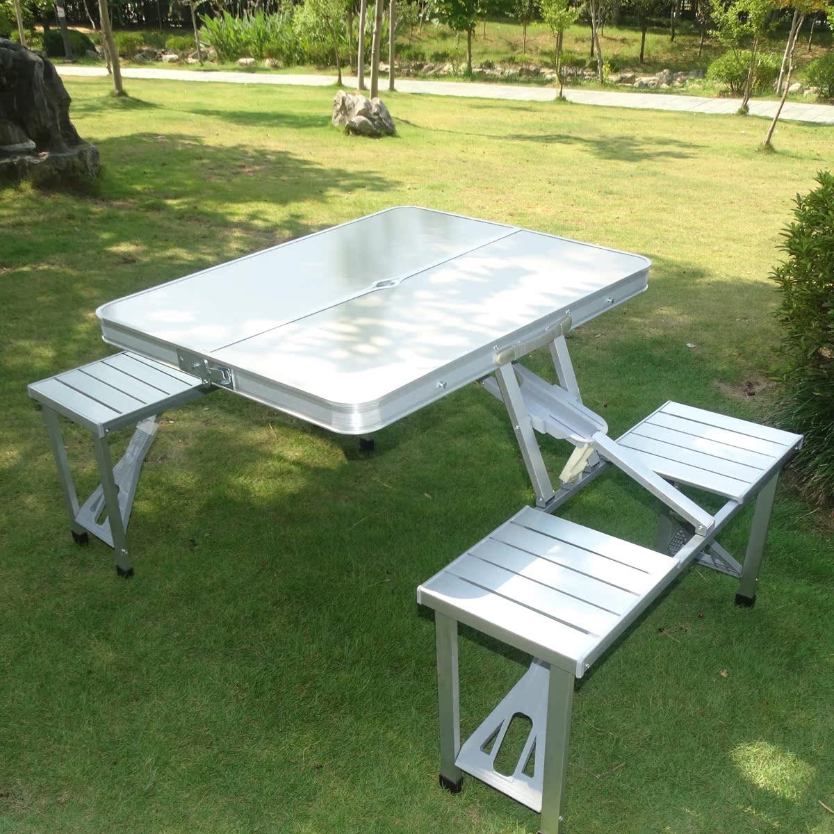 便携式铝合金户外折叠桌椅套装野炊自驾游露营必备野餐烧烤夜市桌图片