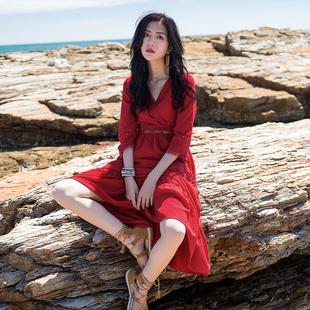 普吉岛泰国海南三亚旅游必备红色沙滩裙女海边度假裙子显瘦连衣裙