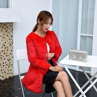 2017秋冬季海宁兔毛皮草 女装七分袖中长款外套