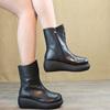 文艺复古保暖女靴 冬坡跟厚底女棉靴真皮中筒靴高跟女靴