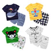 夏季宝宝短袖套装纯棉婴儿衣服夏装女童装短裤男童T恤0-1-2-3岁
