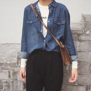 牛仔衬衫女长袖中长款宽松大码潮2018春装深蓝色牛仔衬衣外套