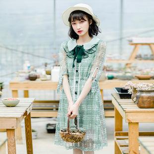 花间裳 森森喜欢你 d清新森系两件套显瘦雪纺连衣裙 2018春夏