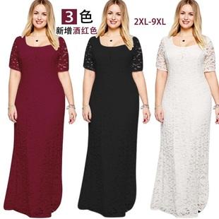 欧美优雅女装胖MM加大超大码全蕾丝晚礼服长款短袖连衣裙长裙