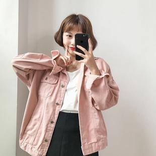 韩国女装复古百搭单排扣长袖牛仔外套春装宽松纯色夹克衫上衣