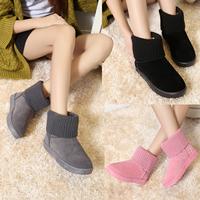 2016短筒雪地靴女秋冬季棉靴平底加绒保暖多穿法毛线学生鞋短靴子