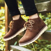 秋冬新款潮流行男鞋高帮板鞋马丁靴子 男日常休闲棕色皮鞋板鞋 男
