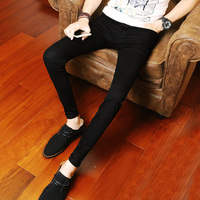 秋季黑色薄款牛仔裤男士韩版修身男装青少年小脚裤潮男休闲长裤子
