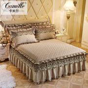 欧式夹棉蕾丝花边单件床裙纯色加厚床罩床套床单席梦思保护套1.8m