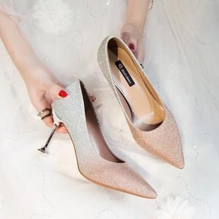 香槟色尖头高跟鞋女秋季渐变色新娘鞋细跟中跟亮片伴娘鞋