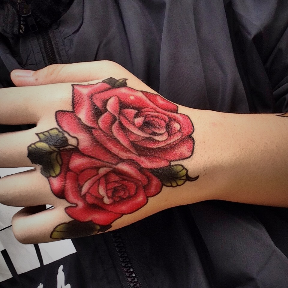 「captain」欧美男女个性手背纹身贴纸玫瑰花纹身贴防水女