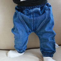 婴幼儿裤子可开裆秋季新款婴儿牛仔裤男女宝宝长裤哈伦裤大PP裤子