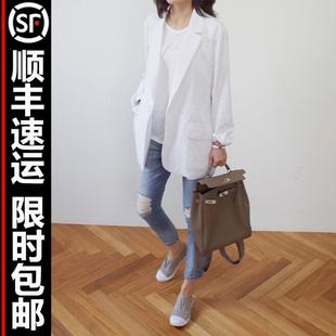 亚麻小西装女春夏麻料白色西服中长款透气空调衫棉麻外套