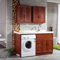 欧式卫浴太空铝落地洗衣机柜洗手盆池带搓板阳台金刚石洗衣柜组合