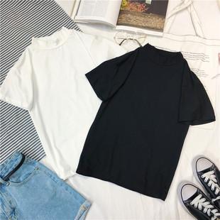 半高领白色短袖女体恤衫简约百搭打底小衫短款纯色t恤女女装