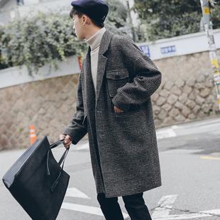 冬季英伦加厚夹棉格子落肩毛呢大衣男中长款宽松呢子外套潮流
