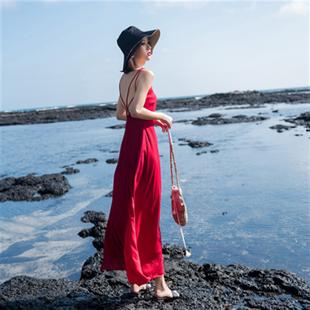 2018女夏性感海边度假沙滩长裙黑色吊带露背小心机漏背连衣裙