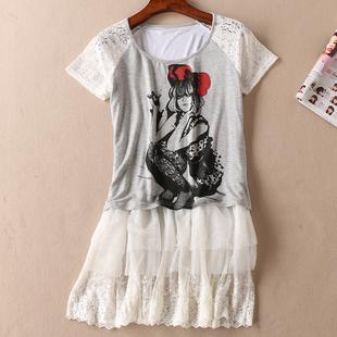 日系甜美淑女夏季蕾丝拼接中长款短袖T恤女减龄学生上衣 C489