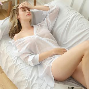 雪纺白衬衫女装夜店性感宽松中长款BF风白色透明诱惑衬衫欧美防晒