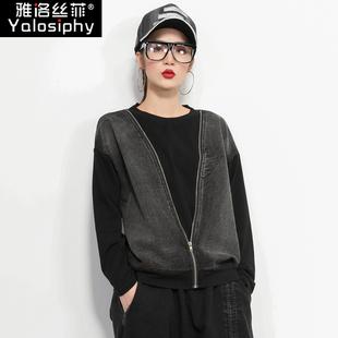 欧洲站2019秋季女装时尚宽松版潮流显瘦套头长袖卫衣t恤女上衣