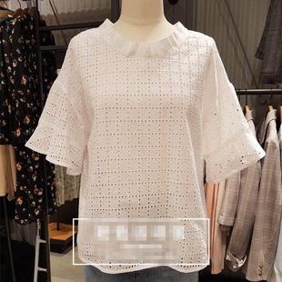 韩国甜美少女风白色镂空棉钩花蝴蝶结后绑带系带纯色小衫上衣