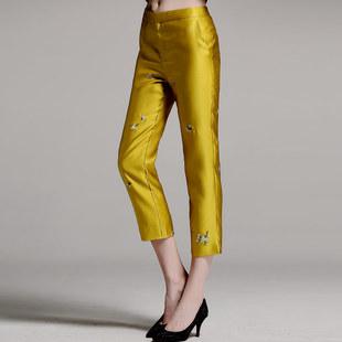 复古风民国风刺绣花唐装改良中式裤子女秋季中国风女装民族风