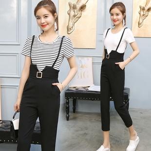 短袖条纹吊带连体裤高腰小脚背带九分裤两件套装女秋夏季