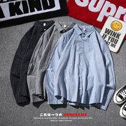 日系秋季条纹衬衫男加肥加大码帅气长袖衬衣青年打底
