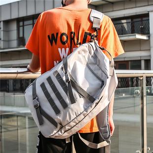 潮牌原创双肩包男大容量帆布高中学生书包女男士旅行背包