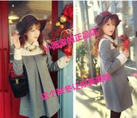 2016秋冬新款韩版大码女装娃娃领显瘦拼接宽松长袖毛呢连衣裙特价
