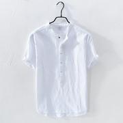 夏季亚麻短袖T恤男士套头立领中国风棉麻料衬衫小清新白色薄衬衣