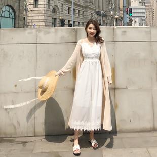 夏季薄款中长款冰麻针织开衫女冰丝空调衫披肩防晒衫宽松外搭