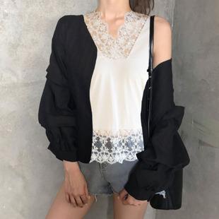 黑白色蕾丝衫无袖背心女性感睫毛蕾丝宽松V领纯棉宽松百搭打底衫