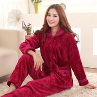 品牌女士睡衣冬季珊瑚绒加厚睡衣女式大码保暖休闲长袖家居服棉衣