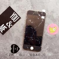 黑色大理石iphone8软边钢化膜卡通前膜7p纳米防爆膜6plus碳纤维